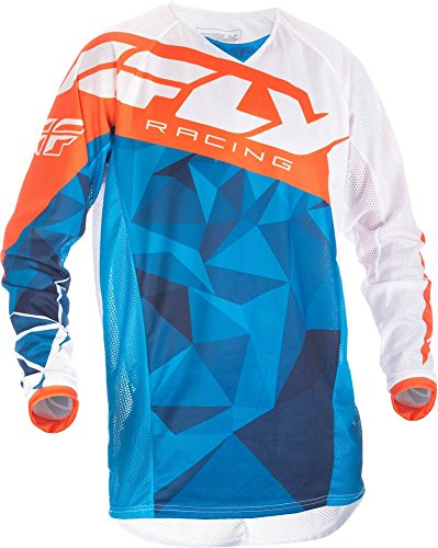 Fly Racing Mountainbike & Motocross Mesh Hemd blau-weiß-orange Fahrerhemd