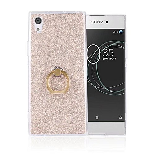 Soft Flexible TPU Back Cover Case Shockproof Schutzhülle mit Bling Glitter Sparkles und Kickstand für Sony Xperia XA1 ( Color : Pink ) Gold