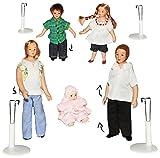 Unbekannt 5 TLG. Set - Familie mit Kinder & Baby - Puppe für Puppenstube Miniatur / Maßstab 1:12 - Porzellan Puppen mit echten Haaren incl. Ständer - Biegepuppen Famili..