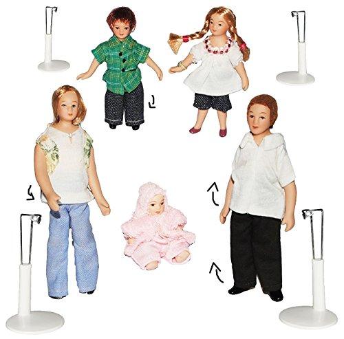 5 tlg. Set - Familie mit Kinder & Baby - Puppe für Puppenstube Miniatur / Maßstab 1:12 - Porzellan Puppen mit echten Haaren incl. Ständer - Biegepuppen Familie Biegepuppe Nostalgie Porzellanpuppe Puppenhaus Sammlerpuppe Nostalgie - Mutter Vater Mädchen Jungen - Porzellanpuppen - Diorama Porzellan Puppe Baby