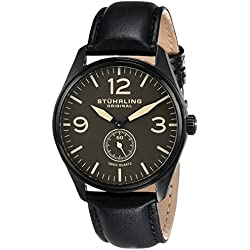 Stuhrling Original Aviator 931 Men's Quartz Watch with Analogue Display and Leather Strap