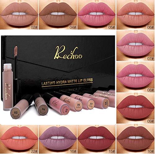 Rechoo 12Pcs Rossetto Matte Liquido Tinta Labbra a Lunga Tenuta,Rossetti Matt Impermeabile Liquid Lipstick Make Up Set