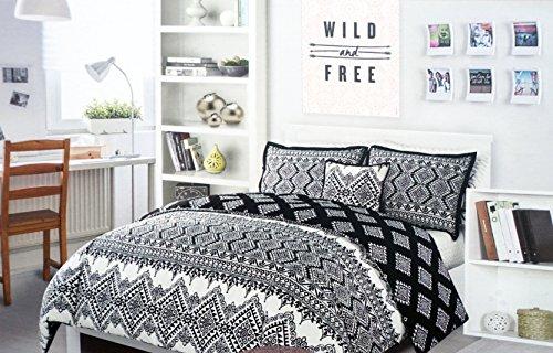 Bettbezug Set, Twin XL Einzelbett Luxus 2Stück schwarz Geometrische Muster auf cremefarbenem, Alex und Zoe --Dakota, elfenbeinfarben -
