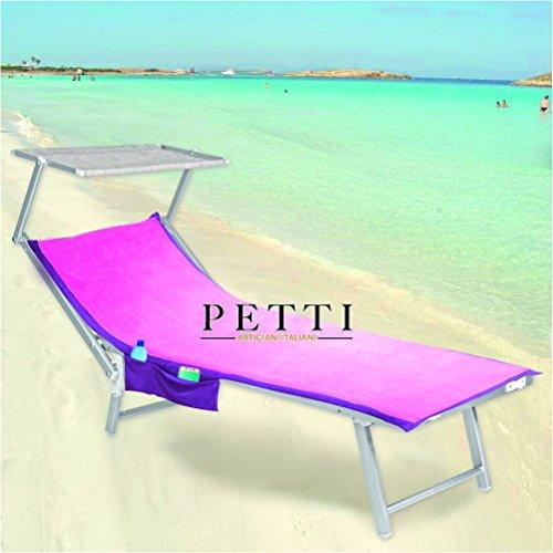 Petti, artisans italiens Serviette de plage Microfibre, drap lit avec élastiques, poches Rosa/Fuxia