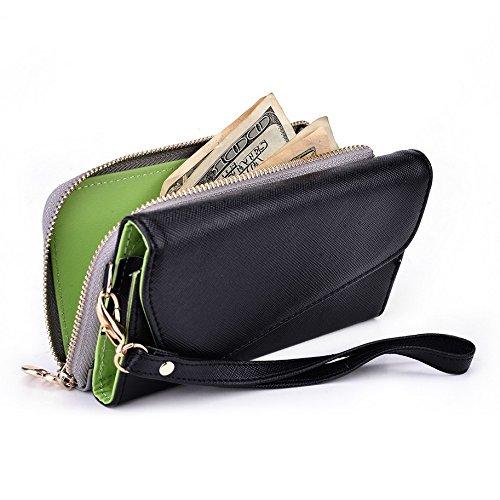 Kroo d'embrayage portefeuille avec dragonne et sangle bandoulière pour Smartphone Samsung Galaxy Trend Plus Black and Blue Noir/gris