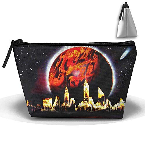 Toiletry Pouch Makeup Bag Fantasy Red Moon City Trapezoidal Portable Cosmetic Storage Travel Bag -