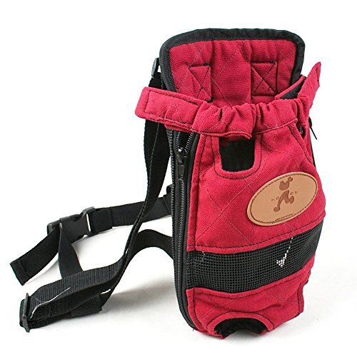 OLizee Tragbar Pet Carrier Rucksack Beine vor Hund Carrier Hände Frei Pet Travel Carrier, L, Rot -