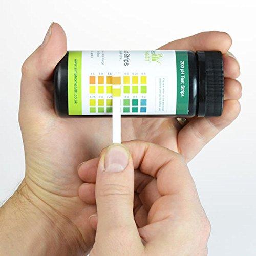 Preisvergleich Produktbild SimplexHealth pH Teststreifen (200 Stück) Urin und Speichel misst pH von 4.5 bis 9.0 mit kostenloser Säure und Basen Lebensmitteltabelle als pdf