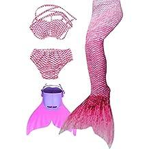 cola de sirena para nadar para niñas,Nuevo estilo para niñas y mujeres (3482-rojo, 10)