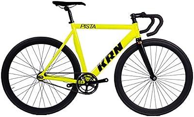 Bicicleta Fixie Aluminio / Carbono KRN Pista Fluor - Manillar Carretera
