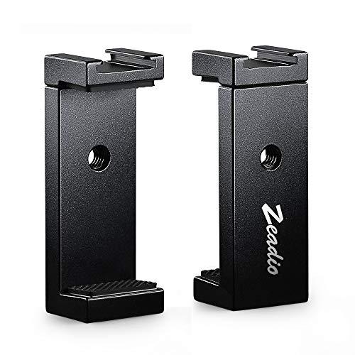 Zeadio Metall Stativ Handyhalterung mit Zubehörschuh, Handy-Adapterhalter, Selfie Stick Einbeinstativ verstellbare Klemme für iPhone, Samsung, Huawei und alle Handys