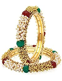 The Jewelbox Cluster Pearls Red Green Antique 22K Gold Plated Bangle Set Of 2 (Pair) For Women