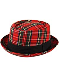Adultos Pork Pie Trilby Fedora tartán escocés comprobar sombrero banda unisex de Breaking Bad Heisenberg estilo rojo