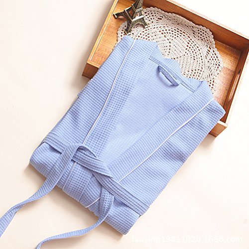 Zhhlaixing Classic Unisex Soft Cotton Bathrobe Adult Lovers Plus Size Long Nightgown Blue