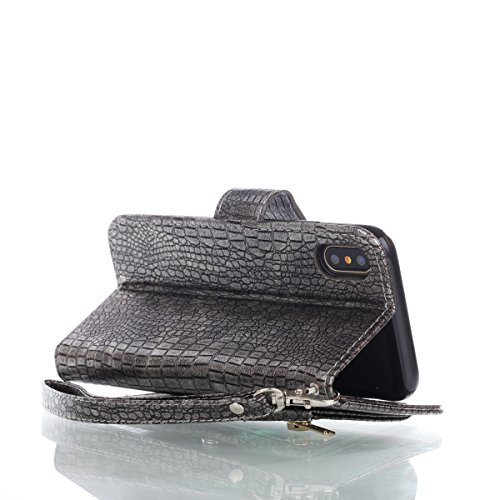 CaseforYou Hülle iphone X Schutz Gehäuse Hülse Crocodile Grain PU Leather Case Flip Stand Cover with Zipper Purse Built-in Card Slots and Lanyard Schutzhülle für iphone X Handy (Red) Silvery Grey