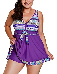 Happy Sailed Womens V Neck Cut Out Back Printed Swimdress with Short
