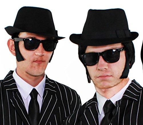 BROTHERS OF BLUES SET FÜR 2 MÄNNER = VON ILOVEFANCYDRESS® DIESES SET IST ERHALTBAR IN 3 VERSCHIEDENEN VARIATIONEN UND DER HUT IST ERHALTBAR IN 58cm + 60cm // DIE SET SIND = 2 TEILIGES SET = 3 TEILIGES SET = 4 TEILIGES SET||||--4 TEILIGES SET MIT HUT 58cm (Swing Tanz Kostüme Männer)