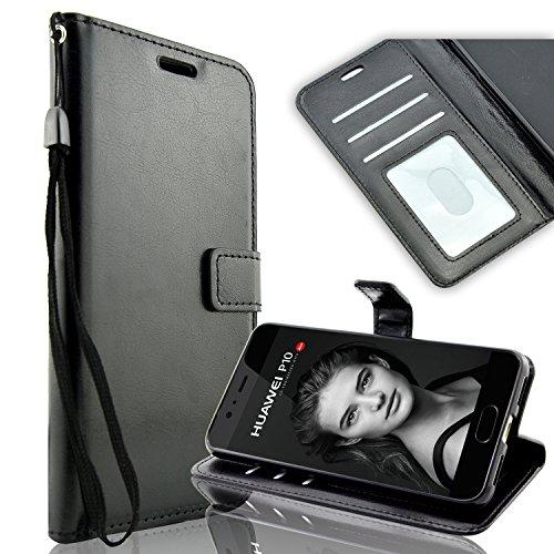 Huawei P10 Hülle, Fraelc® Handyhülle HUAWEI P10 Ledertasche Wallet Case mit Standfunktion & Kartenfach Schutzhülle für Huawei P10 - Schwarz