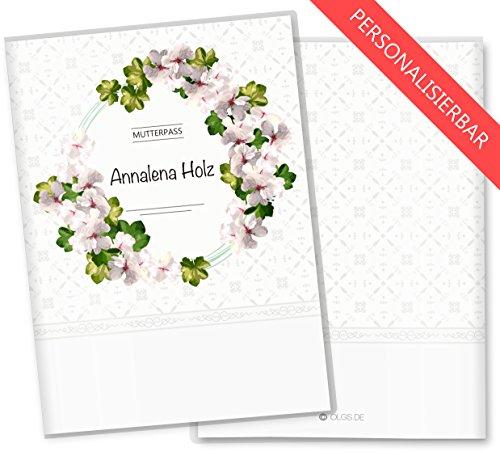 Mutterpasshülle 3-teilig Blumenkranz Schutzhülle Geschenkidee personalisierbar mit Namen (Mutterpass personalisiert, Magnolia) -