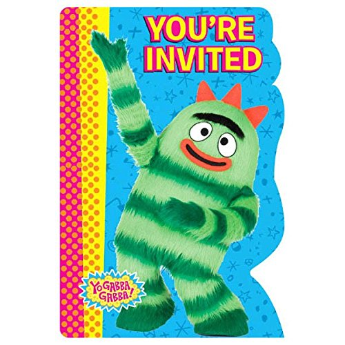 Amscan Hip and Hop Yo Gabba Gabba Invitations Birthday Party Supplies, 3-7/8 x 5-5/8