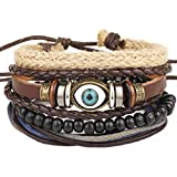 ICHQ Armband, 1x Herren Armband Mode Handgewebtes Leder Augen Muster Design Mädchen Armbänder Schmuck Bracelet Zubehör Armreifen (A)