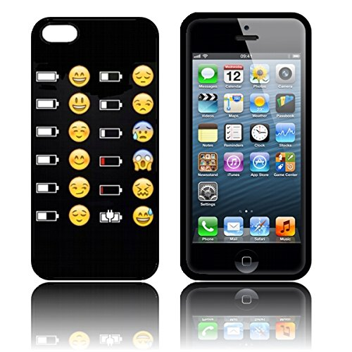 Silikon 'Battery Emoji faces' TPU Schutzhülle iPhone 5 / 5S / SE Hülle schwarz (Niedlich, Iphone 5 Ladegerät)