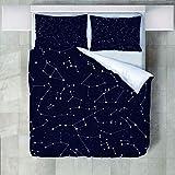 4 Teilige Bettwäsche Set Sternenhimmel Sternbild Muster Gedruckt Polyester Bettbezug Mit Kissenbezügen Bettbezug Set Pflegeleicht Weich Glatt Für Alle Jahreszeiten Geeignet