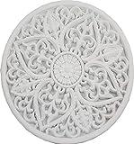 DRW Mandala Redondo Tallado, Blanco, 65x65x3 cm