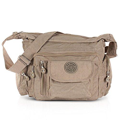 Bag Street Damen Nylon Shoppertasche Umhängetasche Crossover Bag Schultertasche Braun - Schicke Kleine Crossover