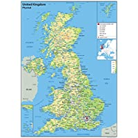 United Kingdom (UK) - Physical Map With Additional Data - Paper Laminated - 42 x 60 Centimetres (A2) - Ideal For Classroom Office and Home [GA]