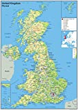 A2 Paper Laminated UK Physical Map [GA]