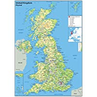 United Kingdom (UK) - Wall Map Physical - 59.4 x 84.1 (A1) Centimetres - Paper Laminated For Use In Classroom, Office And Home[GA]