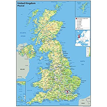 United kingdom uk physical map with additional data paper united kingdom uk physical map with additional data paper laminated 42 sciox Image collections