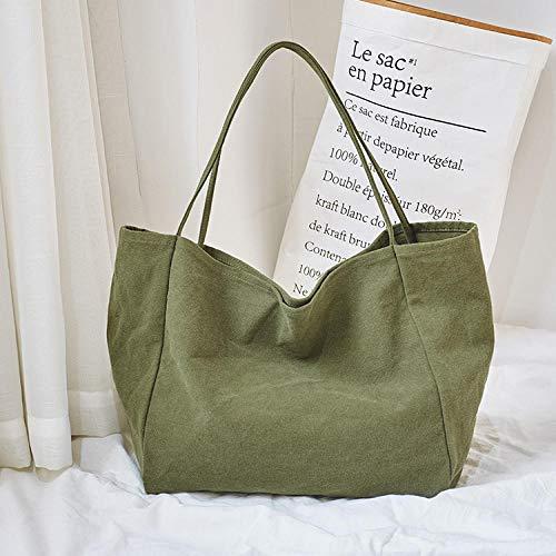 SHOUTIBAOBAO Handtasche Leinwand,Grüne Frauen Leinwand Shopping Bag Wiederverwendbare Soild Extra Große Tote Grocery Bag Eco Umwelt Shopper Umhängetaschen Für Junge Mädchen -