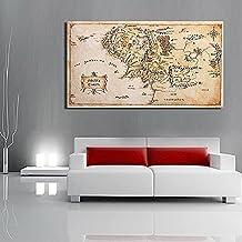Bluelover 110X60 Cm Mapa De La Tierra Media Señor De Los Anillos De Tela De Seda Poster Home Decor