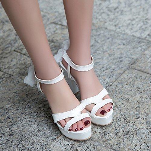 COOLCEPT Damen Mode Schnurung Sandalen Slingback Plateau Peep Toe Blockabsatz Schuhe White