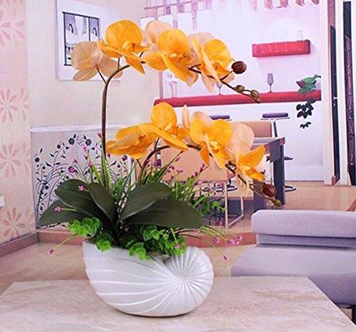 LLPXCC künstliche Blume Kreativ Home floral Esstisch ein Wohnzimmer eine moderne einfache europäischen Stil dekorative Blumen real Touch Orchideen Topfpflanzen Outdoor Hochzeit orange
