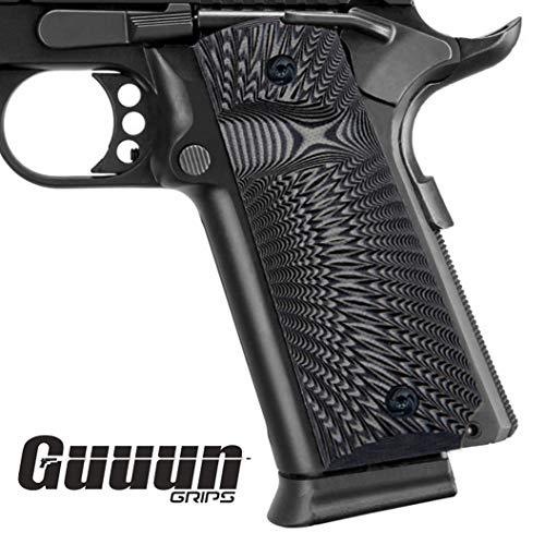 Guuun 1911 Griffe für Pistole 1911 griffschalen Full Size Grips Gewehr-Hartschalenkoffer G10 Griffe Ambi Safety Cut Big Scoop Sunburst Texture -