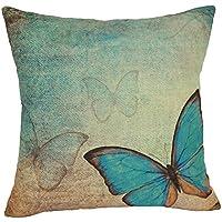 Coolsummer fiori e farfalle Vintage Home-Carta da parati decorativa per cuscino, in lino, 45,72 cm (Roll Top Home Office)