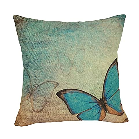 Coolsummer Retro Vintage Flowers and Butterfly wallpaper Pattern Home Decorative Throw Pillow Case Square Linen Cushion Cover 18 x 18 Inches