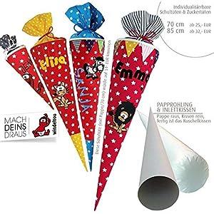 Schultüte, Zuckertüte in 70 cm oder 85 cm, rot Sterne weiß inklusive Papprohling mit vielen Personalisierungsmöglicheiten, als Kuschelkissen weiter nutzbar