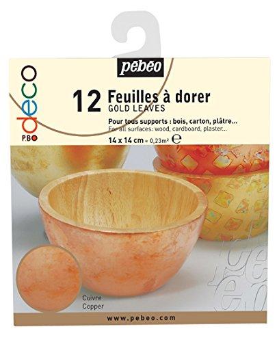 PEBEO Pbo-Deco Livret de 12 Feuilles, Feuille d'or, Cuivre, 4.5 x 4.5 x 7 cm