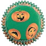 PME - Caissettes à Cupcakes en Papier à Motif de Citrouilles Souriantes, Dimensions Standard, Lot de 60