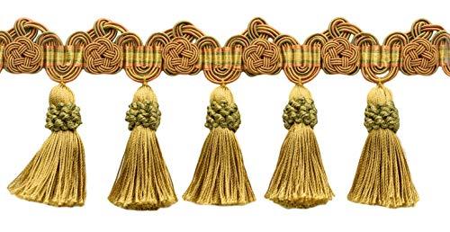 DecoPro TFAX0375 Fransenverzierung mit Rosetten 95 mm, Kupfer, Gold, Grün, Farbe: Kürbis-Aufnäher - LX05, pro Yard = 91 cm -