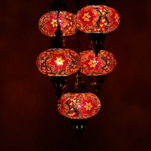 Handmade 5 Ball Turkish Mosaic Ceiling Chandelier Lamp Light Set, Lantern Globe, Tiffany Ottoman Moroccan Style Hanging Pendant Lights, by TK Bazaar (Ametrine)
