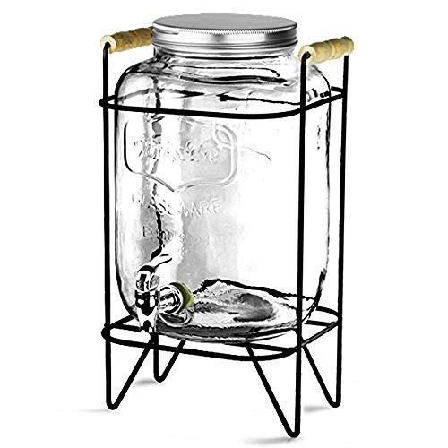 XHHWJJ Glas Einmachglas Double Drink Dispenser mit auslauffreiem Zapfen auf Metallständer mit geprägter Tafel und Kreide, klar (Klar Dispenser Drink)