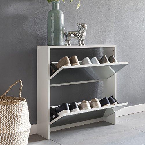 FineBuy Schuhkipper NIKI 2 Klappen Weiß mit Spiegel 63x67x17 cm Schuhschrank Holz | Schuhkommode geschlossen | Schuhregal hoch Kipper schmal | Schuhaufbewahrung verspiegelt | Design Flurmöbel Dielenmöbel