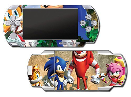 Sonic Boom Hedgehog Tails Amy Rose Knuckles Eggman Shattered Crystal Fire & Ice Robotnik Video Game Vinyl Decal Skin Sticker Cover for Sony PSP Playstation Portable Original Fat 1000 Series System by Vinyl Skin Designs (Hedgehog Sonic Tails)