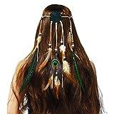 Amorar - Cinta de pelo de plumas bohemio para mujer, atrapasueños, cinta para el pelo, joya para el pelo, estilo hippie boho indio