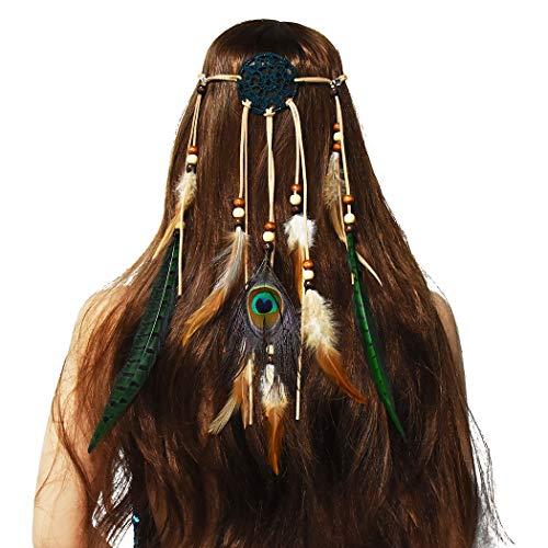 Amorar - Cinta de pelo de plumas bohemio para mujer, atrapasueños, ci
